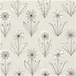 Little Greene 1950s Wallpaper Florette Classic Grey (169)